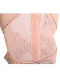 Chausson cuir demi-pointe pro rose avec résille