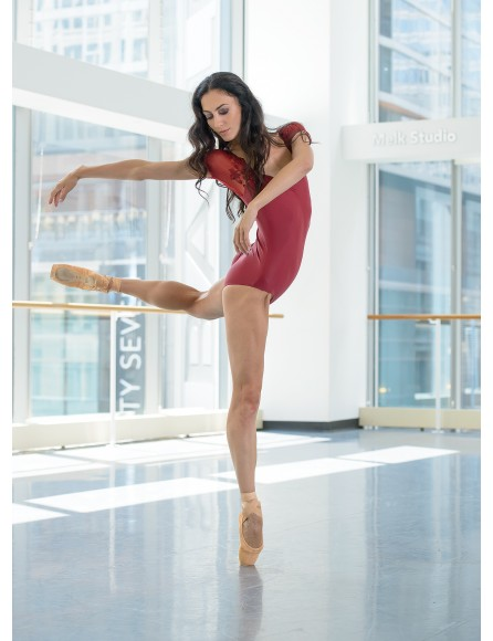 Justaucorps Justine manches dentelle Ballet rosa