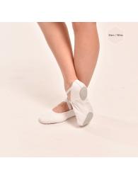 Chausson Demi-pointe blanc en toile élastiquée