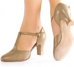 Chaussures danse en cuir semelle daim