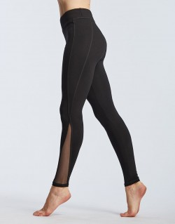 Leggings en viscose et tulle noir